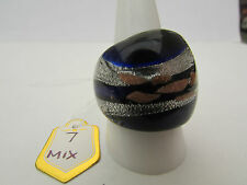 Glass Ring. Uk Size Q.Us 8.25 (7) A Deep Blue,Silver & Copper Murano Style