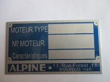 Plaque Signalétique Bouclier Alpine renault a110 108 109 K REDELE Id-plate s31