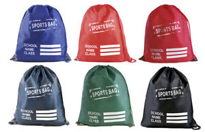 Kids Plain Drawstring Sports Gym Pump RuckSuck PE Bag various colour