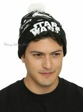 New Star Wars Tie Fighter Intarsia Embroidered Knit Fold Over Pom Beanie Hat