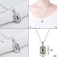 Newshe Vintage Pendant Necklace For Women 925 Sterling Silver Blue Sapphire Cz