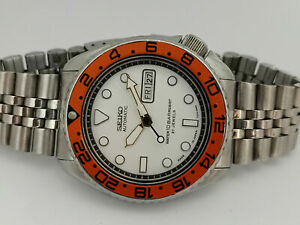 VINTAGE WHITE SUBMARINER MOD SEIKO DIVER 6309-7290 AUTOMATIC MENS WATCH 7N4831