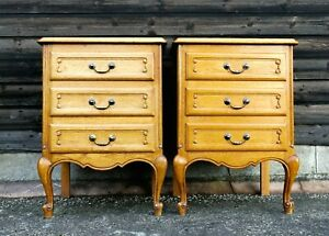 LOUIS XV Style Pair of Carved Golden Oak 3 Drawer Bedside Cabinets! (CONBSC3)
