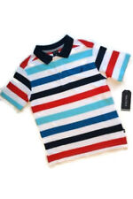 Nautica Polo Shirt White Blue Red Stripe Short Sleeve Boys XL (7X) [a1325]