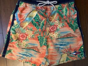 TOMMY HILFIGER Vintage Hawaiian Patch Spell Out Mens Swim Trunks Shorts Sz Large