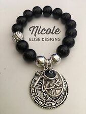 Black Agate bracelet 12mm St Gerard Crystal Eye Cross & Black Evil Eye mothers
