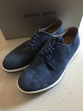 New $625 Giorgio Armani Suede Shoes Blue Size 5 ( 38 Eur ) Italy