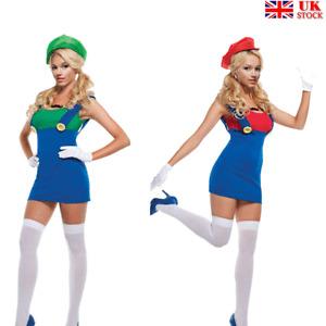 Women Fancy Dress Mario Luigi Plumber Sisters Costumes Party Halloween
