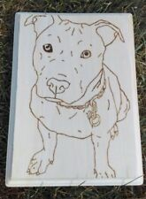Unique Hand Made Wood Burn Art Of A Pit Bull