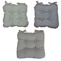 BERKELEY Checked Piped Edging Chunky Seat Pad / Seat Cushion Green, Navy, Grey
