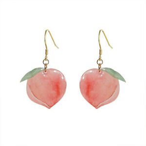Women Cute Sweet Acrylic Trendy Pink Peach Drop Earrings Jewelry Birthday Gifts