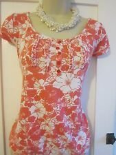 Ladies size 12 F&F white with coral pink floral summer top short sleeves