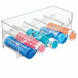 mDesign Water Bottle / Wine Rack Storage Organizer, 10 Bottles, 2 Pack - Clear