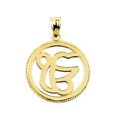 14k Yellow Gold Ek, Ik Onkar Sikhism Charm Pendant