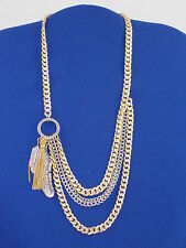 Jessica Simpson Two Tone Feather In The Wind Tassel Layer Drape Necklace $38