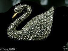 Signed Swarovski Pave' Crystal Swan Pin /Brooch Retired Rare New W/Tags