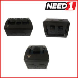 CROWN Weatherproof 1 2 3 Gang Light Switch Waterproof 16A IP66 Double - Black