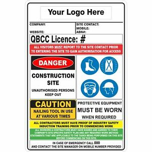 CONSTRUCTION SITE COMBINATION SIGN - QLD QBCC Compliant