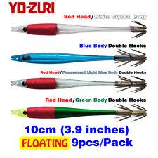 9pcs Squid Jigs Double Hooks Lure Bait 10cm Fluorescent Japan YO-ZURI Floating