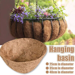 2 Pack Hanging Basket Coco-Liners Replacement - Round Coconut Shell Flower Pot