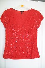 Escada-red sequined top.EU36/38.Lined,stretch.RRP400Euro.Used.