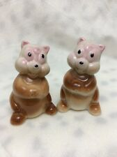 VINTAGE CERAMIC SQUIRREL SALT AND PEPPER SHAKERS WOOD CORKS