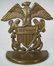 Old Brass Us Navy Spread Winged Eagle Shield Anchors Figural Doorstop Bookend
