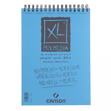 Canson XL Mixed Media Paper Spiral Pad A4 Self Cover Quality Black Wire Binding