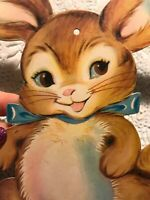 Vintage Easter Card Single Sided Bunny Dennison Pin Holes See Photos