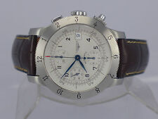 Swiss Longines Weems silver dial auto date chrono SS pilot watch