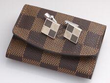 S5506K Authentic Louis Vuitton Damier Silver 925 Cufflinks With Damier Case