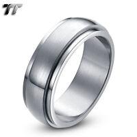 TT 8mm Plain Brushed Stainless Steel Spinner Ring Mens & Womens Size 6-15(R10S)