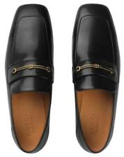 NEW GUCCI MEN'S CURRENT BLACK LEATHER HORSEBIT DOUBLE G LOAFERS SHOES 9/US 9.5