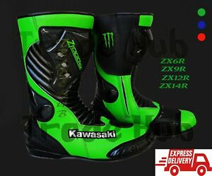 New Motorcycle//Motorbike kawasaki leather racing//Riding Shoes//Boots