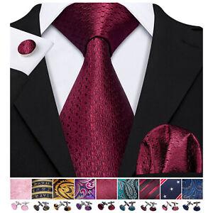 UK Burdundy Red Novelty Silk Men Tie Necktie Pocket Square Cufflinks Set Wedding