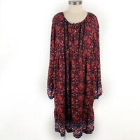 NWT Old Navy Midi Dress Size XL Boho Gypsy Red Orange Floral Long Sleeve NEW