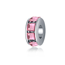 NEW Pink Spacer Bead For European 925 Silver Charms Bracelet DIY