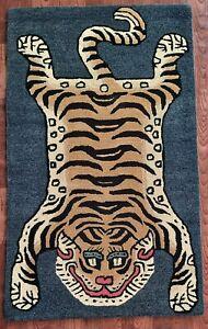 Tibetan Tiger Rug With 100% Woolen, 3x5 feet for Home Décor Indigo blue colour