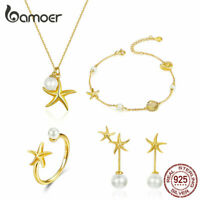 BAMOER Golden Necklace Earrings Bracelet Ring S925 silver Jewelry Set For Women