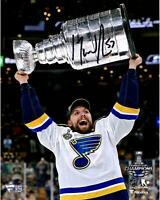 David Perron Blues 2019 Stanley Cup Champs Signed 8 x 10 Raising Cup Photo