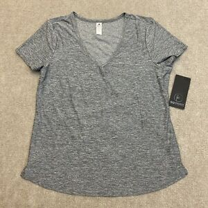 90 Degree By Reflex Active Wear Top Gray V Neck Shirt Women's Size Large NWT