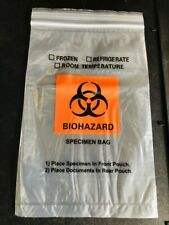 "Bag, Biohazard Specimen Transport, 6""x9"", Ziplock w/Doc Pouch, Full Case 1,000!!"