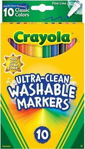 Crayola Washable Markers 10pk Ultra Clean 10 Pens School Classroom - Brand New