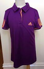 adidas Tennis Kids Unisex Purple Orange Collared T-Shirt Polo Top 9-10 Years