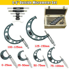 "0-6"" 0.01mm Pro Precision OUTSIDE MICROMETER SET MACHINIST TOOL CARBIDE Wrench"