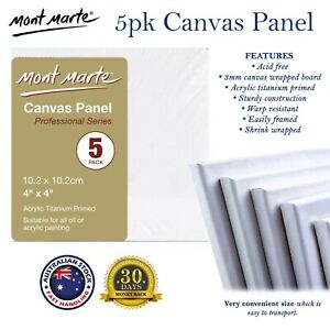 5/20pk Mini Canvas Panel MONT MARTE 10.2cm x 10.2 cm Square Art Painting Panels