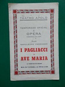 MADRID TEATRO APOLO 1955 PROGRAMA ÓPERA: I PAGLIACCI. REPARTO ARGUMENTO PUBLICID