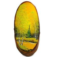 Forest in the Fall Woodcut Painting Wall Art Plaque 14 Inches