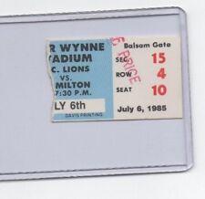 BC Lions  Hamilton Tiger Cats Ticket Stub July 6 1985 Ivor Wynne Stadium
