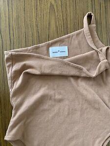 Summi Summi The 02 One Shoulder Bodysuit S AU 8 10 Skin Tan Camel Asymmetric